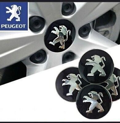 Lot de  4 cache moyeux  Sticker enjoliveur PEUGEOT 3D centre de roue/jante 56mm