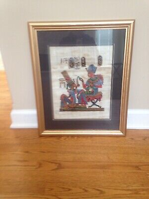 Egyptian Papyrus Hand Painted Framed Art