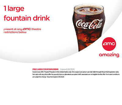 AMC 1 Large Drink🥤& 1 Large Popcorn🍿- Expire 6/30/2020⚡️Fast E-Delivery⚡️