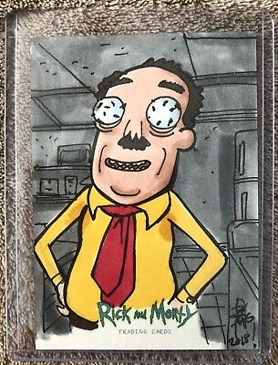 2018 Rick and Morty Cryptozoic Signed Brian Kong Sketch Card