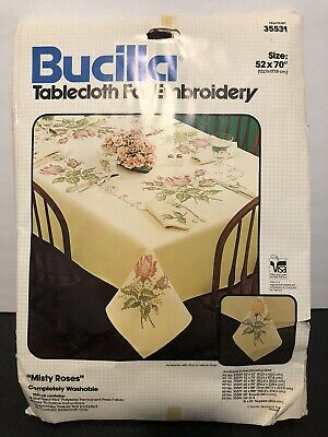"BUCILLA Tablecloth for Embroidery Material MISTY ROSES #35531 52"" X 70"""