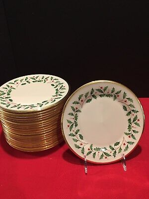 "Lenox Holiday Dimension, Holly Berries, 6 1/4"" bread/butter dishes with gold rim"