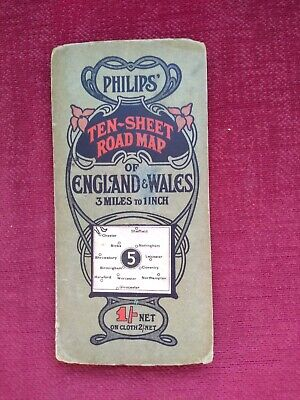Vintage Art Nouveau Philips road map . Central region