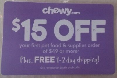 CHEWY.COM Coupon $15 Off Your FIRST order of $49 or More Shipping Deal