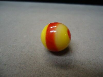 Akro Agate  Yellow & Red Corkscrew Marble  5/8  Mint +   Fluorescent