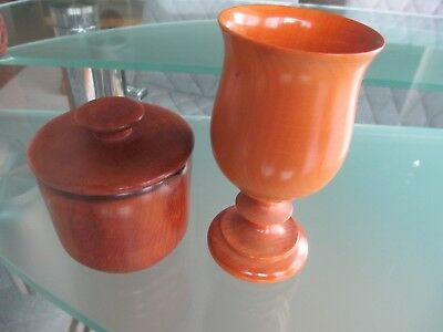 2 X Treen Wood Items - One Is A Covered Pot & The Other Is A Lovely Goblet