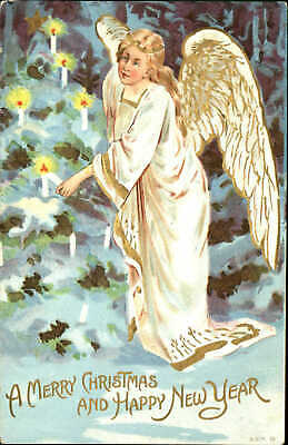 Christmas New Year angel candles on tree mailed 1909