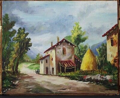 Vintage Signed RINO DILLA PIA Italian Farmhouse Landscape Oil Painting on Board