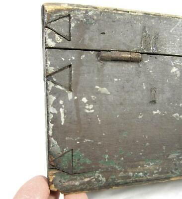 Antique 19thC DOCUMENT BOX ASHY-MAUVE PAINT GRUNGY AAFA Chest/ Pantry/ Primitive