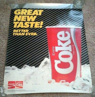 "Vintage Coca Cola 1985 ""New Coke"" Advertising Poster NOS New Old Stock 22"" x 28"""