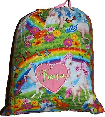 Personalised drawstring library bag - Garden unicorn - two tone - SMALL