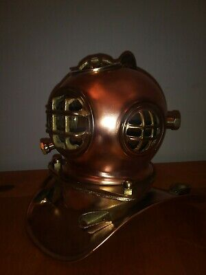 "Vintage ""US Navy"" Brass And Copper Deep Sea Diving Helmet."
