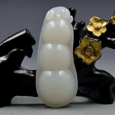 Chinese Natural Hetian Jade Hand-carved Bean Pendant BY14