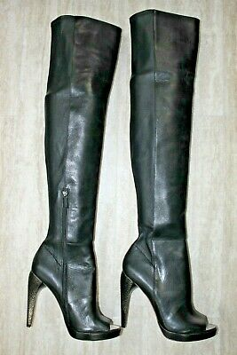 ac3e1a81221 BCBGMAXAZRIA LEATHER OVER the Knee Open Toe Boots Black - 9 US NEW