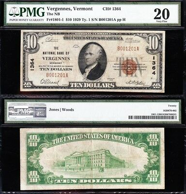 NICE *RARE* Mid-Grade VF 1929 $10 VERGENNES, VT National Banknote! PMG 20! 1201A