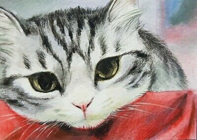 NEW VERY CUTE CAT ORIGINAL ACEO Acrylic Colored Pencil Painting Art Card Red