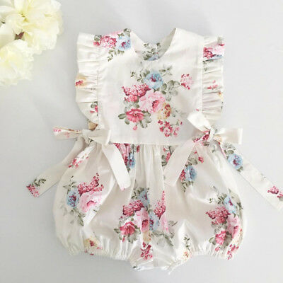 Newborn Baby Girls Summer Flower Ruffle Romper Bodysuit Jumpsuit Outfits Sunsuit