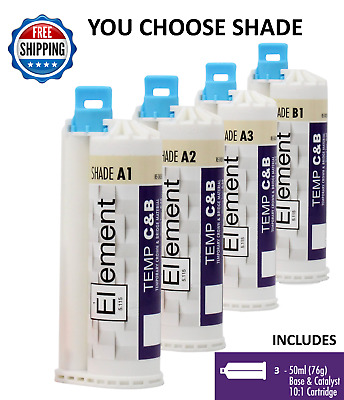 3 ELEMENT Temporary Crown and Bridge Material Cartridges Shades A1,A2,A3 or B1