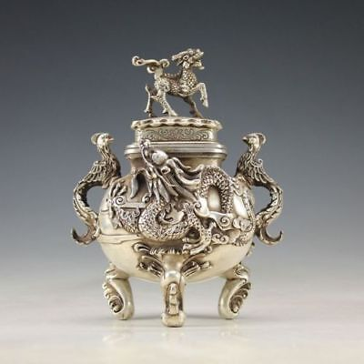 Collectible Chinese Silver Copper Handwork Carved Dragon Incense Burner