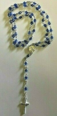 Light Blue Crystal ROSARY Beads Necklace With Crucifix
