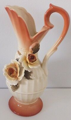 70s vintage Handpainted Iridescent Vase Urn Ornament Sculptured Roses Japan