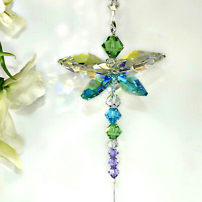 mw Swarovski Crystal Easter Peacock Color Dragonfly Suncatcher + Butterfly Beads