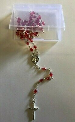 Red Glass Crystal ROSARY Beads Necklace With Crucifix