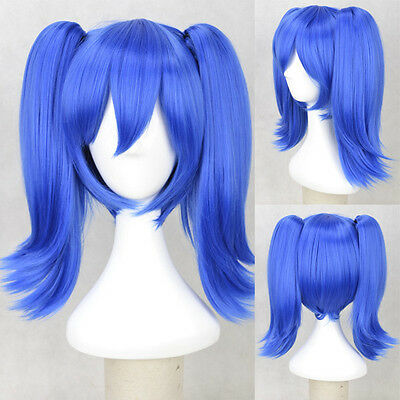 Girls Long Blue Split Tiger Clip Double Tail Women Cosplay Enomoto Anime Wig