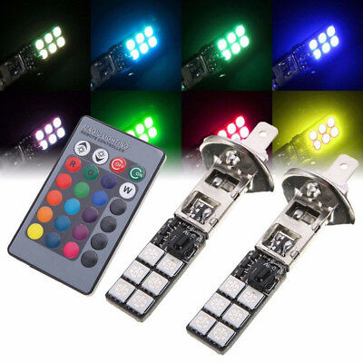 2pcs 12V H1 5050 RGB 12SMD LED Car Headlight Fog Bulb Lamp Light Remote Control