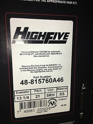 New Mercury Stainless High Five 21 pitch prop