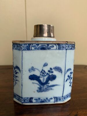 Chinese Early Qing Hand Painted Blue & White Antique Tea Caddie Silver Cap