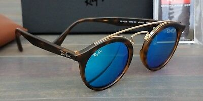 da4a1de9fe36 New Ray Ban GATSBY I RB4256 6092 55 Sunglasses Matte Tortoise w  Blue Flash