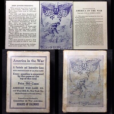 1918 WW1 Historic Informative Antique Parlor Playing Cards America War Game Deck
