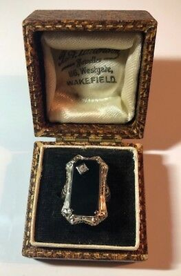 Authentic 1920's Art Deco Gold and Onyx Ring from England