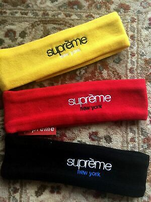 66c1021e60a Supreme New Era x New York Headband Fleece Red Black Yellow with Tag