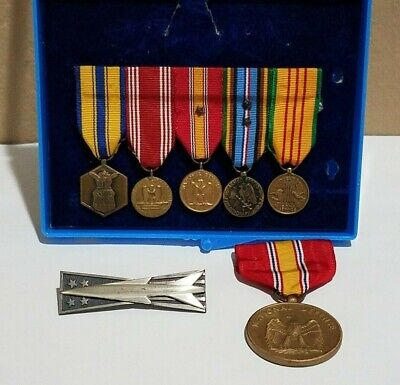 Vietnam US Army Military Miniature Medals Bar & Air Force Missile Pin