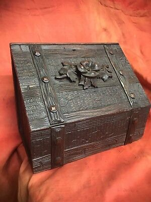 Antique Carved Victorian Letter Box Writing Mail Black Forest Flower Strong Old