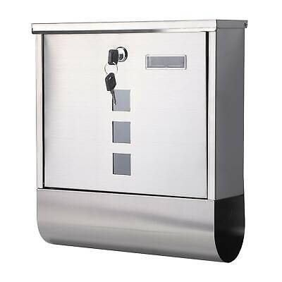 New Large E Mailboxlockable Postbox Outside Post Letter Box Wall Mounted Steel