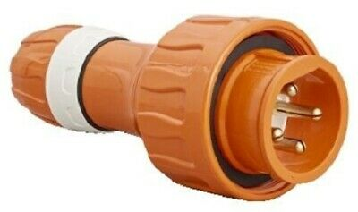 Clipsal INDUSTRIAL STRAIGHT PLUG 500V 4-Round Pin, Resistant Orange- 20A Or 32A
