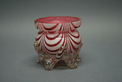 Antique Red and White Nailsea Fairy Lamp Base with Clear Applied Wishbone Feet