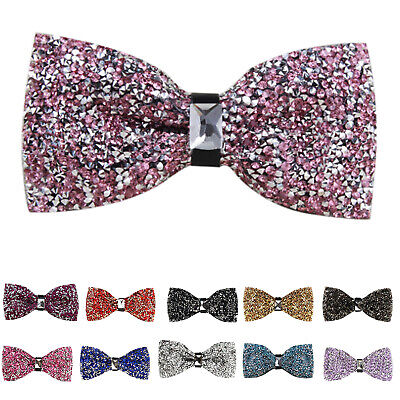 1X(Fashion Inlay Diamond bowknot Tie for men women(Gray ore) A9M7)