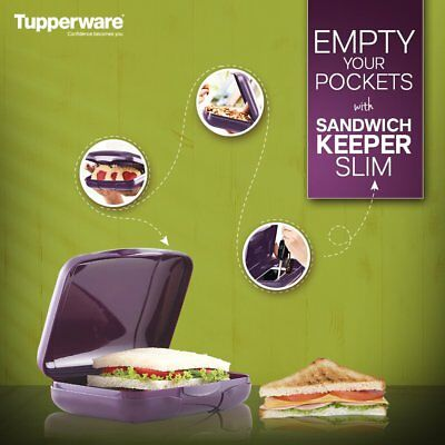 Tupperware Purple color Sandwich Keeper Slim- Lunch Box - Snack container- NEW!
