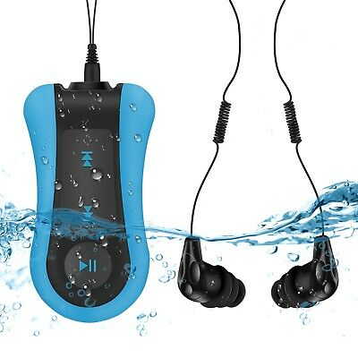 AGPTEK Clip 8GB Waterproof MP3 Player Swimming with Headphone for Sports Blue