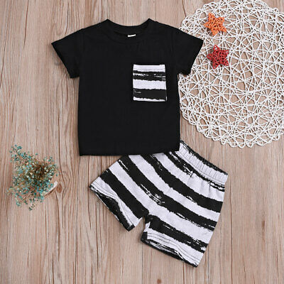 Toddler Boy Clothes Clothing Sets Stripe Suits Kids Baby Boys T-shirt + Shorts