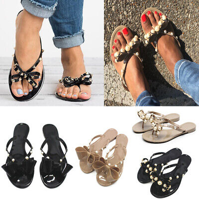 Womens Jelly Flip Flops Ladies Summer Bow Toe Diamante Flat Comfy Sandals Size