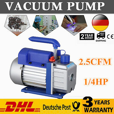 Rotary Vane Vacuum Pump Single Stage Lab Refrigerator Pump 1/4HP 2.5CFM 220V DE