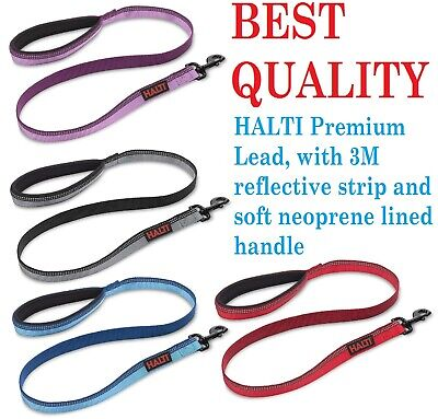 Halti Premium Dog Puppy Walking Lead Reflective Soft Leash Blue Black Red Purple