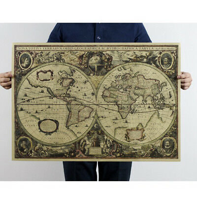71x50cm Vintage Style Retro Cloth Poster Globe Old World Nautical Map Gifts DL5