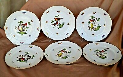 Herend handpainted 6 pcs dinner plates set with Rotschild pattern 524