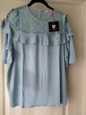 V by Very Baby Blue Lace Yolk Frill Top Size 16 BNWT